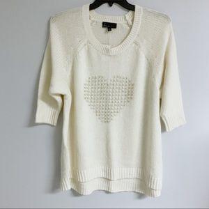 Lane Bryant Cream w/ stitched silver heart Sweater